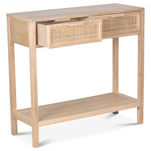 OPJET PARIS Console Desk Juju 2 Drawers Cane Rattan 75cm