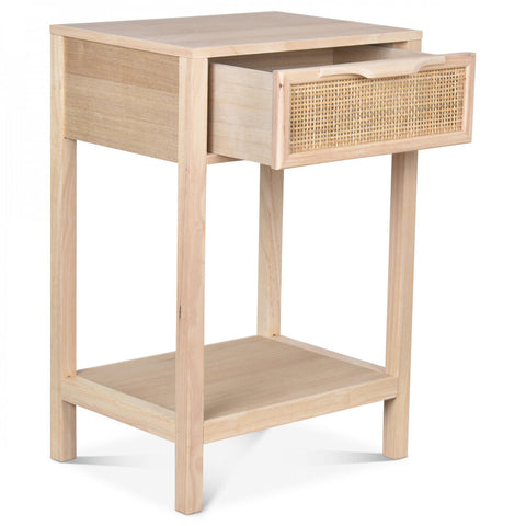 OPJET PARIS Bedside Table Juju 1 Drawer Wood & Cane Rattan 60cm