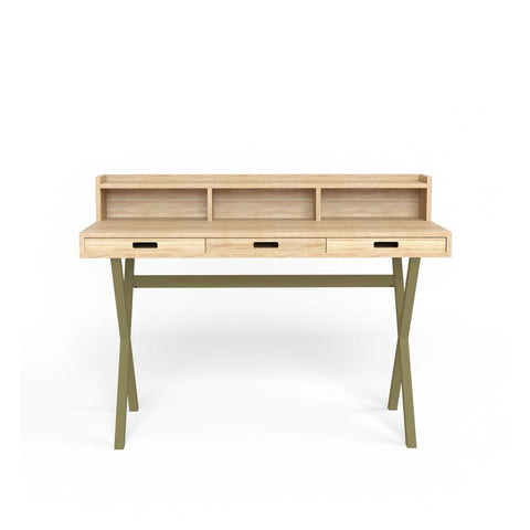 HARTO Desk Hyppolite Oak & Olive Green