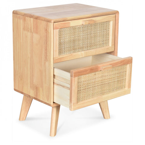 OPJET PARIS Bedside Table Emile 2 Drawers Wood & Cane Rattan 54cm