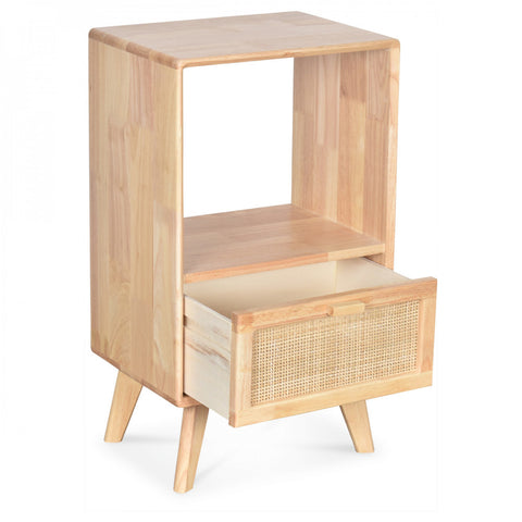 OPJET PARIS Bedside Table Emile 1 Drawer Wood & Cane Rattan 69cm