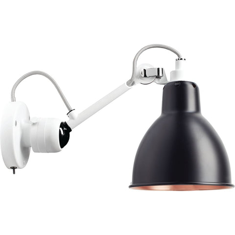 DCW EDITIONS Wall Light Lampe Gras 304 Switch On The Base White Body Copper Inside