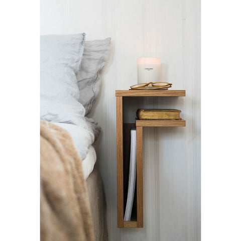 MAZE Bedside Table F-shelf Left Oak