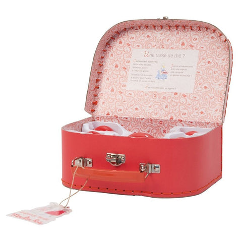 "MOULIN ROTY Suitcase Red Ceramic Tea ""Classic toys"""