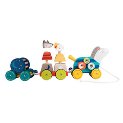 "MOULIN ROTY Pull along activity horse ""Les Zig et Zag"""