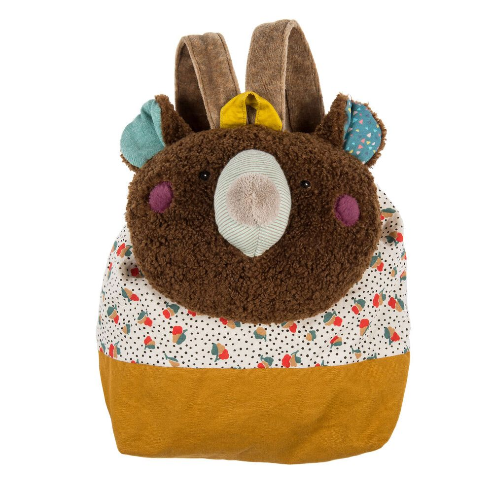 "MOULIN ROTY Brown bear backpack ""Les Jolis trop beaux"""