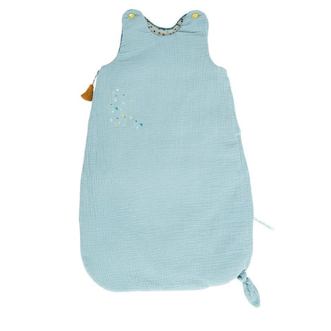 "MOULIN ROTY Blue sleeping bag 70cm ""Les Jolis trop beaux"""