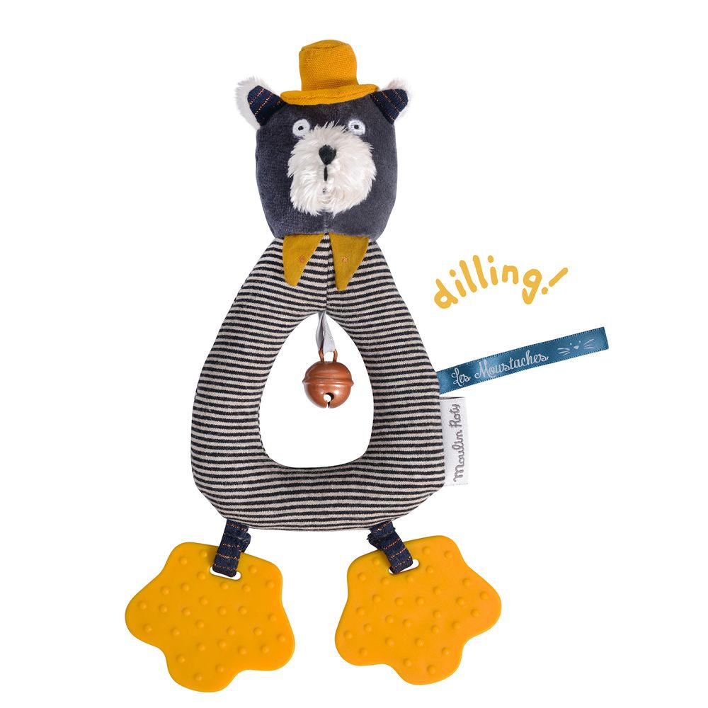 "MOULIN ROTY Grey ring rattle ""Les Moustaches"""
