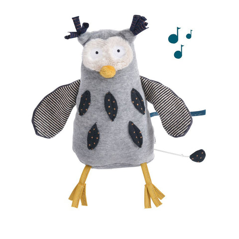 "MOULIN ROTY Musical Soft Toy owl ""Les Moustaches"""