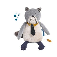 "MOULIN ROTY Musical Soft Toy cat ""Les Moustaches"""