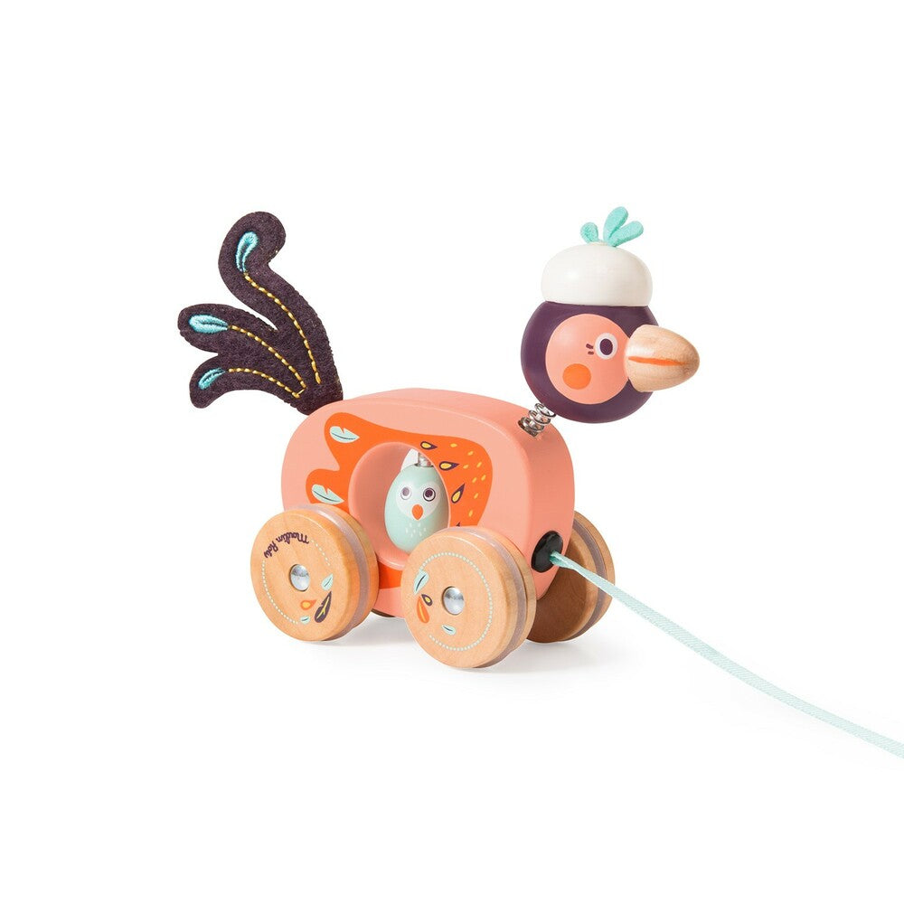 "MOULIN ROTY Small bird pull along toy ""Dans la jungle"""