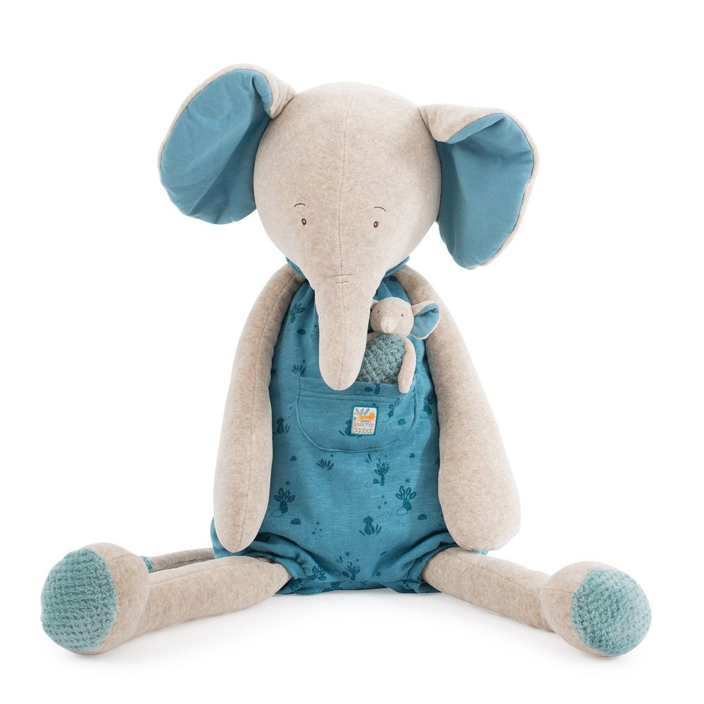"MOULIN ROTY Soft Toy Giant Elephant ""Sous mon baobab"""