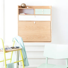 HARTO Desk Secretary Gaston Walnut Large Brushed Brass Drawer & 2 Pink Drawers 80cm