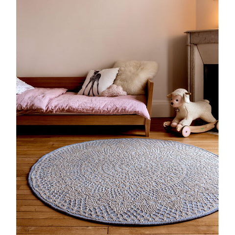 AFKLIVING Round Rug Crochet Grey