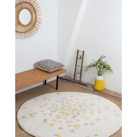 AFKLIVING Rug Nova Round Yellow Grey 120x120cm