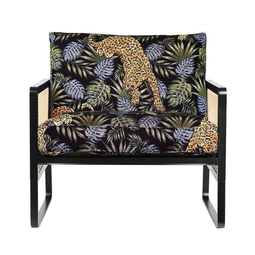 RED EDITION Armchair Cane Black Wood Jungle Leopard