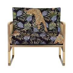 RED EDITION Armchair Cane Natural Wood Jungle Leopard