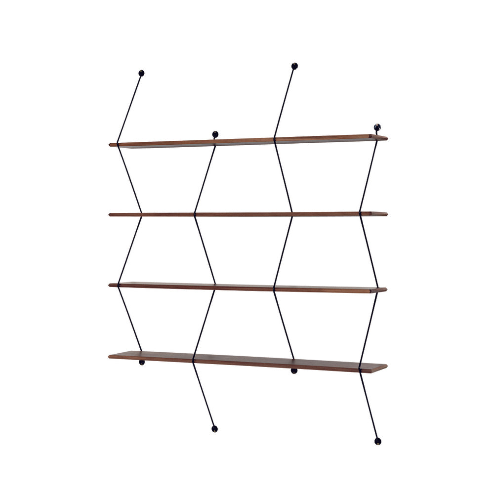 LA CHANCE Shelf Climb 120 Black Metal Threads & Walnut