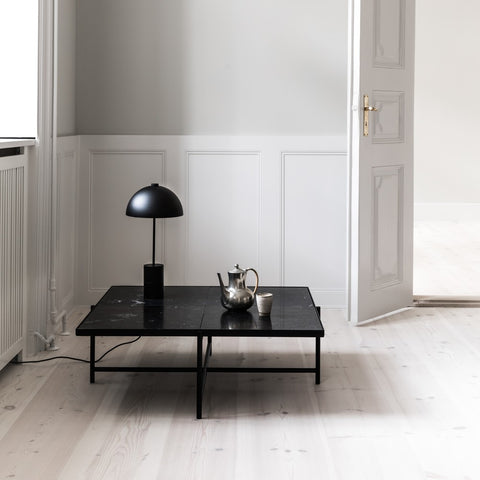 HANDVÄRK Coffee Table 90 Black Frame Green Marble