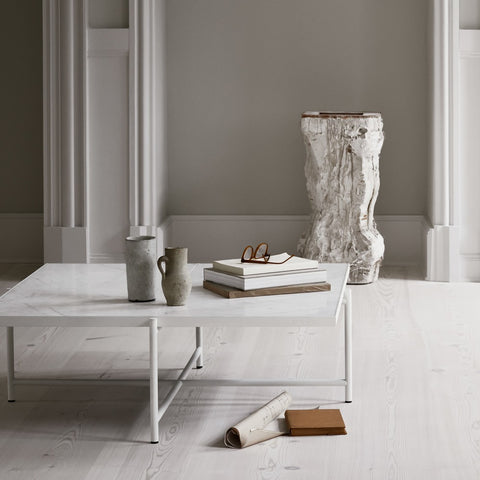 HANDVÄRK Coffee Table 90 Black Brass Frame White Marble
