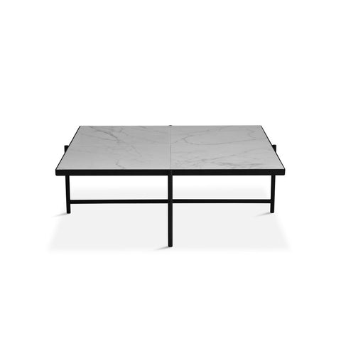 HANDVÄRK Coffee Table 90 Black Frame White Marble