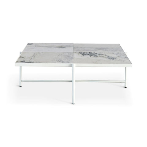 HANDVÄRK Coffee Table 90 White Frame White Marble