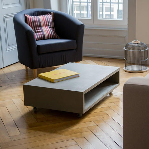 LYON BETON Coffee Table Monobloc rectangular on wheels