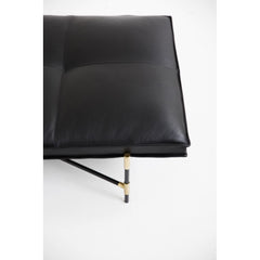 HANDVÄRK Daybed Black Brass Frame Black Leather