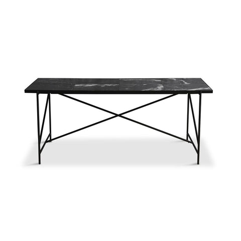 HANDVÄRK Dining Table 185 Black Frame Black Marble