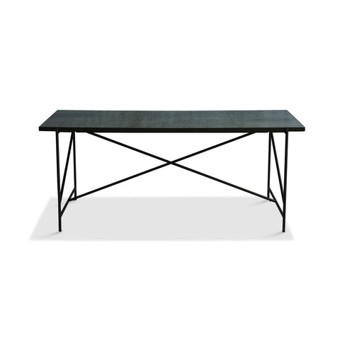 HANDVÄRK Dining Table 185 Black Frame Green Marble