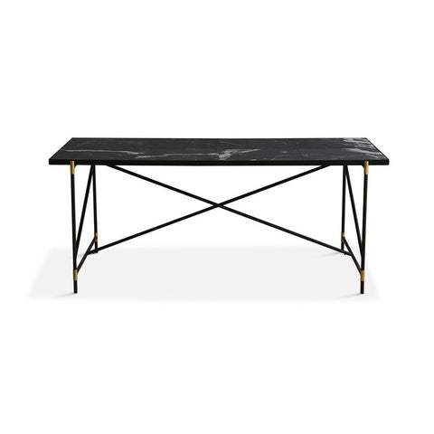 HANDVÄRK Dining Table 185 Black Brass Frame Black Marble