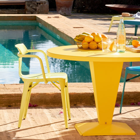 TOLIX Dining Table Kub Outdoor Painted Ø80cm