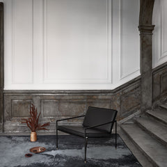 HANDVÄRK Lounge Chair Black Frame Black Leather