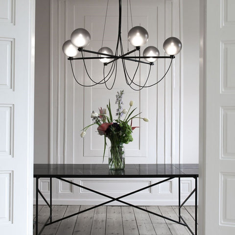 HANDVÄRK Suspension Light Globe Chandelier Black
