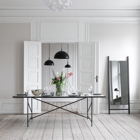 HANDVÄRK Dining Table 185 Black Brass Frame White Marble