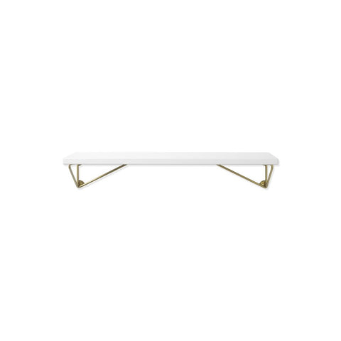 MAZE Shelf Pythagoras XS White Shelf + 2 Brass Brackets
