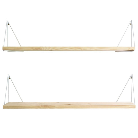MAZE Shelf Pythagoras Play 2 Pine Shelves + 2 Pairs of White Brackets