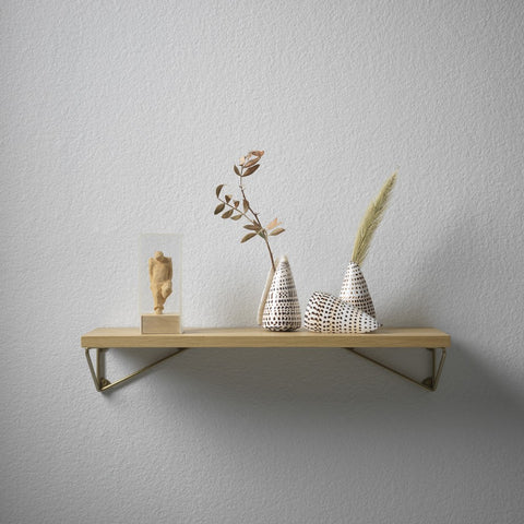MAZE Shelf Pythagoras XS Oak Shelf + 2 Brass Matte Brackets