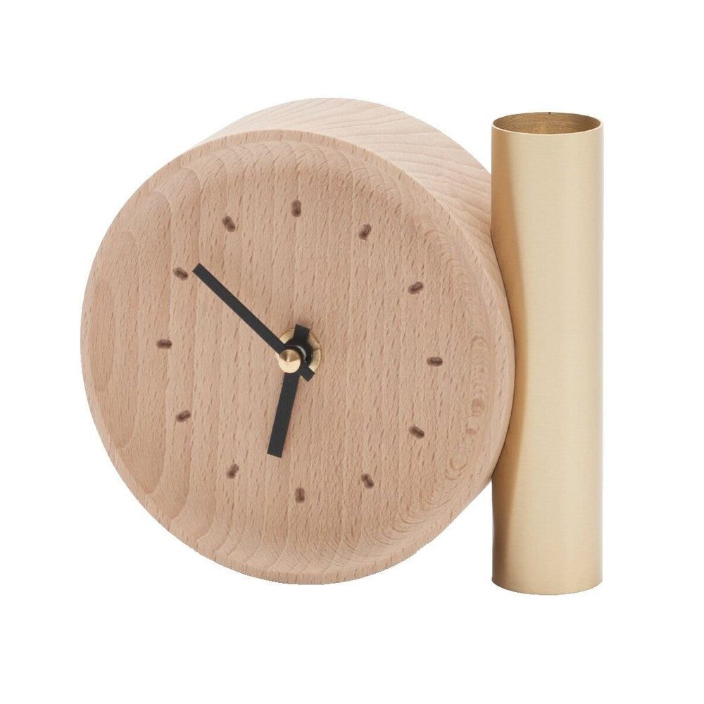 DRUGEOT Clock Tik Tok Wood Brass