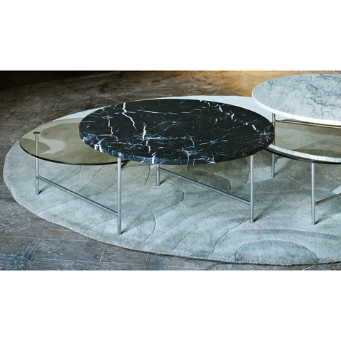 LA CHANCE Coffee Table Zorro Smoke Glass & Black Marble
