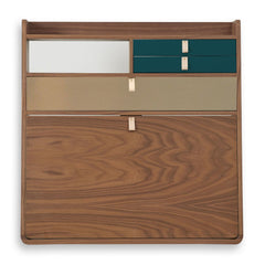 HARTO Desk Secretary Gaston Walnut Large Brushed Brass Drawer & 2 Petrol Blue Drawers 80cm
