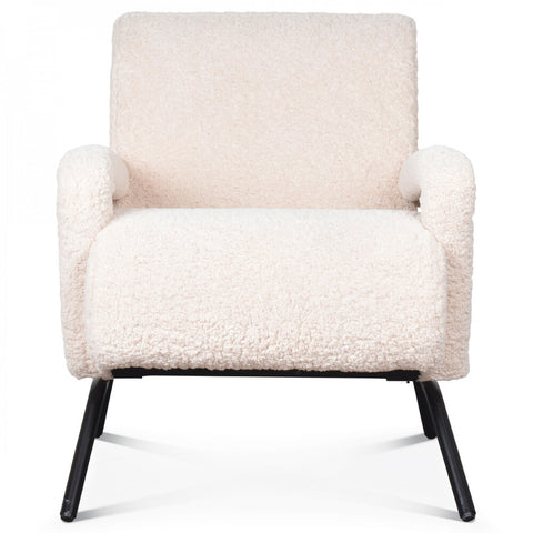 OPJET PARIS Armchair Boubou Metal Legs Faux-Fur White