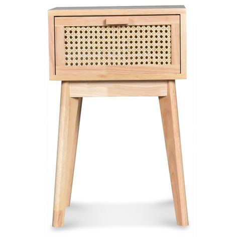 OPJET PARIS Bedside Table Leo 1 Drawer Wood & Cane Rattan 56cm