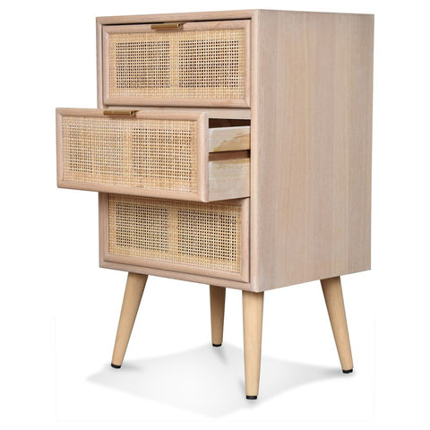 OPJET PARIS Bedside Table Roro 3 Drawers Wood & Cane Rattan 71cm