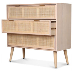 OPJET PARIS Dresser Roro 3 Drawers Wood & Rattan 80cm