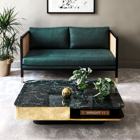 RED EDITION Coffee Table Lounge Large Brass Band Green Marble