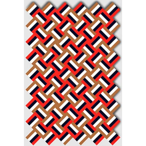 LA CHANCE Rug Cross Red Blue Camel 252x168cm