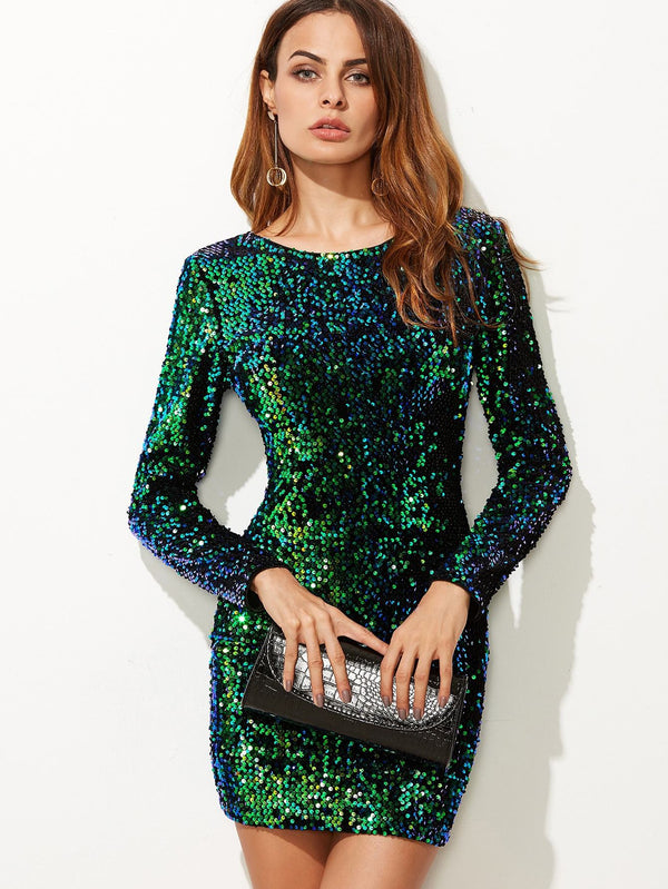 Gemstone Sequin Bodycon Mini Dress