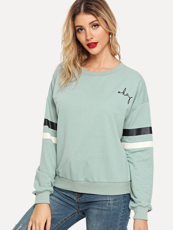 Doing OK Varsity Striped Sleeve Pullover
