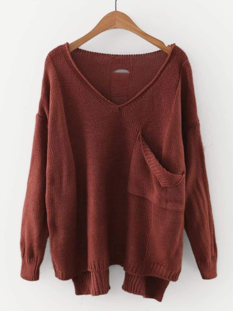 Dip Low Distressed Pocketed Sweater